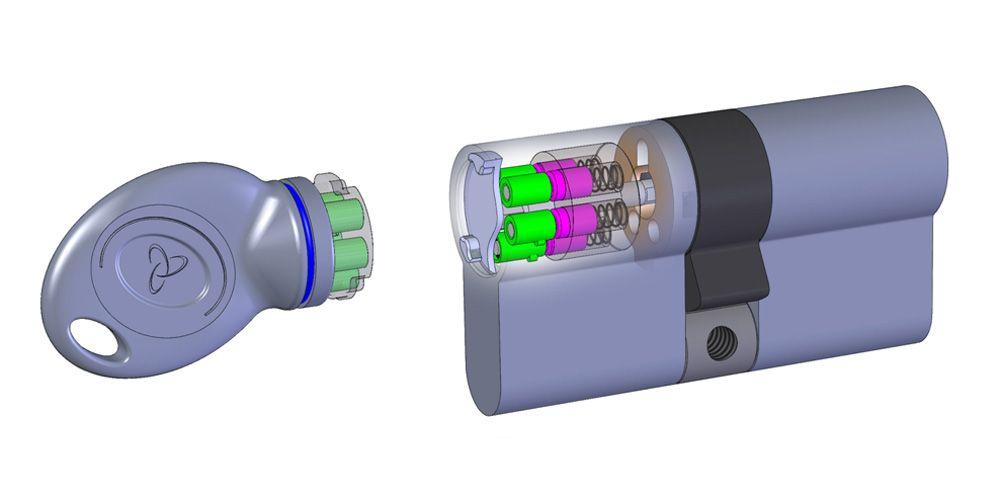 serrure magnétique de sécurité en coupe